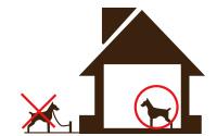 外飼いの犬はご宿泊できません